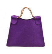 Hoxis Simplicity Wool Felt Causal Tote Faux Leather Decor Womens Picnic Handbag