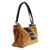 CTM Woman Clutch, Small Handbag in geuine suede leather 100% made in italy - 26.5x18x12 cm