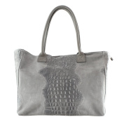CTM Woman Handbag Animalier Pattern with Suede Leather Parts, genuine leather made in Italy - 53x30x16 Cm