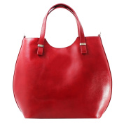 CTM Woman Handbag with Shoulder Strap, genuine leather made in italy - 40x33x14 Cm