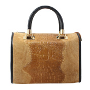 CTM Woman Handbag, Boston Bag Animalier Pattern with shoulder strap, genuine leather made in Italy - 30x25x16 Cm