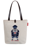 So'each Women's Cute Cartoon Robot Canvas Shopper Top Handle Tote Shoulder Bag