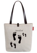 So'each Women's Cute Footprint Print Canvas Shopper Top Handle Tote Shoulder Bag