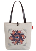 So'each Women's Monster Eye Canvas Shopper Top Handle Tote Shoulder Bag