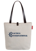 So'each Women's Rudder Letters Print Canvas Shopper Top Handle Tote Shoulder Bag