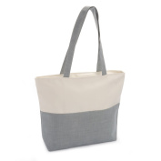 TWO TONE GREY & CREAM MONOCHROME STYLE ZIPPED TOTE BAG AB30461