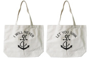 Soramee Women's Best Friend Anchor Matching Bff Canvas Tote Bag
