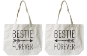 Soramee Women's Eco-Friendly Bestie Forever Bff Matching Canvas Tote Bag