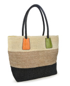 Hoxis Colour Block Crocodile Pattern Stripes Woven Synthetic Straw Tote Womens Shoulder Handbag