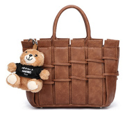 S-KIVEN PU Leather Hand-Woven Shoulder Bags Women Lady's Casual Satchel Beach Bags Crossbody Bag Messenger Bag with Teddy Bear