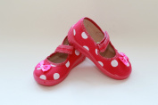 Slippers,Toddlers, Girls,Velcro, Snap, Laced shoes, Multicoloured, Lovely colours,Countured Footbed,Delicately stiffened, Natural material, Canvas ,Anti-skidding, UK size 2, 3, 4, 5, 6, 7 Pink Dots