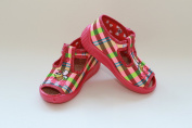Slippers,Toddlers, Girls,Velcro, Snap, Laced shoes, Multicoloured, Lovely colours,Countured Footbed,Delicately stiffened, Natural material, Canvas ,Anti-skidding, UK size 2, 3, 4, 5, 6, 7 Happy Bee