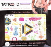 TATTOOID Temporary Tattoo Rainbow colour. 2 slides + 1 cosmetic sponge