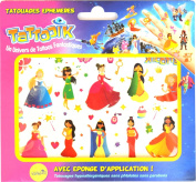 TATTOOIK Temporary Tattoos Princesses. 1 slide + 1 cosmetic sponge