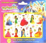 TATTOOIK Temporary Tattoos Princesses. 1 slide + 1 cosmetic sponge