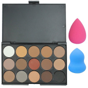 Evermarket Professional 15 Colours Women Cosmetic Makeup Neutral Nudes Warm Eyeshadow Palette with 2 Makeup Sponge Blenders