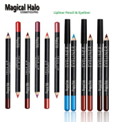 Pencil 12 Colours ( Lipliner + Eyeliner ) : Lipliner Waterproof Non-dizzy Lipliner Contour Cosmetics Makeup Lip Liner ; Colourful Eyeliner Waterproof Eye Contour Smooth Texture Eye Liner ; Magical Halo Set Pack of 24