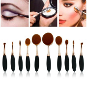 Fortan 10PC/Set Toothbrush Eyebrow Foundation Eyeliner Lip Oval Brushes