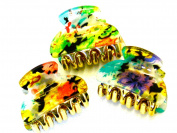 Lapeach Fashions Mini Epoxy Floral Print 4cm Hair Clamps Clips Grips Hair Claw Set Of Three