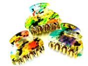 Lapeach Fashions Mini Epoxy Floral Print 4cm Hair Clamps Clips Grips Hair Claw Set Of Three