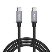 AUKEY Type C Cable to USB C Nylon Braided Aluminium Plug 1m / 3.3ft USB C Cable Data and Charging Sync Cable for the New MacBook 2015 , ChromeBook Pixel , Nexus 5X , Nexus 6P , Nokia N1 Tablet , OnePlus 2 and other USB C Supported Devices Grey