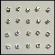 Pack Of 20 Sterling Silver Claw Set Nose Studs Clear Colour 3mm