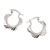 Serenity Flower Sunray Patterned Creole Earrings in Sterling Silver