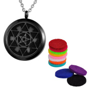 VALYRIA Aromatherapy Essential Oil Diffuser Necklace-Hexagram Round Stainless Steel Pendant Locket