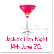 Eternal Design 35 x 35mm Square Hen Night White Glossy Stickers HNSS 6