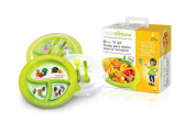 Great Portion Control Plate Children - Show N´Tell Nutrition Start - Right Kit From Precise Portions - Set Of 2 - Kid Safe BPA Free - Plates - Lids - Eating Utensils - Fork - Spoon - USDA Nutritional Guidelines Design - 3 Divisions To A Perfect Size Me ..