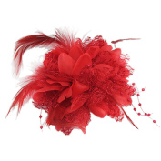 Flower Feather Bead Wrist Corsage Bridal Hair Clip Pin Brooch Headpiece
