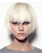 Tsnomore Trendy Dapper Short Straight Withe Women Kanekalon Bob Wig with Full Bang