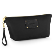 CHICECO Designer Wristlet Clutch Purse Makeup Bag with Quilted Base - Black