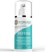 Retseliney Peptide Face and Neck Firming Serum, Boost Collagen, Lift Loose and Sagging Skin, Tightens Smoothes Chest, Vegan Hyaluronic Acid, Vitamin E, Organic and Natural, Anti Wrinkle Serum for Skin