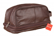 MEN'S GENUINE LEATHER TRAVEL OVERNIGHT WASH GYM TOILETRY BAG BLACK / BROWN - 3530