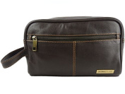 Mens QUALITY Leather Slimline Wash Bag by Rowallan of Scotland Travel in Black or Brown