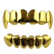 24K Gold Plated Grillz Top And Bottom Fangs + 2 Extra Moulding Bars