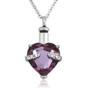 LovelyJewellery Purple Heart Pendant Necklace Memorial keepsake Cremation Jewellery Ash Holder Funnel