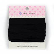 mdribbons 1.6cm 10 Yards Matte Elastic Ribbon For Hair Tie Headband Hair band Accessories Decoration Black Colour