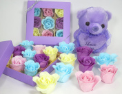 Bath Bomb, Rose Bath Bomb, Nine Colourful Charing Rose Flower with purple gift box and teddy, 10