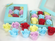 Bath Bomb, Rose Bath Bomb, Nine Colourful Charing Rose Flower with Heart Gift Box. blue box with red flower, 9