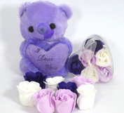 Rose Bath Bomb, Nine Colourful Charing Rose Flower with Clara box and purple teddy, 6