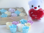 Rose Bath Bomb, Nine Colourful Charing Rose Flower with white long box and white teddy , 4