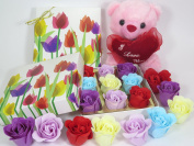 Tulip and teddy, Rose Bath Bomb, Nine Colourful Charing Rose Flower with tulip flower box, 7
