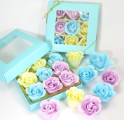 Rose Bath Bombs, nine colourful Rose flower with gift box, birthday for mom, grandma, girl's, batty gift. blue box