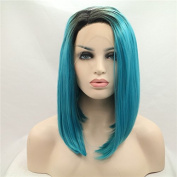 Kylie Jenner Heat Resistant Fibre Hair balck to mix colour blue bob dark root Synthetic lace front wig for African American black and white women women.