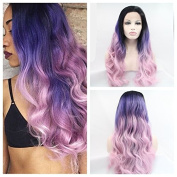 Kylie Jenner fashion wig Heat Resistant Fibre Hair mermaid dark root ombre black purple to pink body wave Synthetic lace front wig for black and white women.
