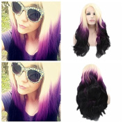 Kylie Jenner Heat Resistant Fibre Hair 1B Black blonde to purple colour water body wave Synthetic lace front wig for American white and black women.