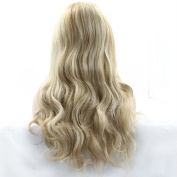 kylie Jenner Heat Resistant Fibre Hair mermaid piano colour ombre blonde to light brown body wave Synthetic lace front wig for women.