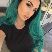 Kylie Jenner Heat Resistant Fibre Hair 1B Black to green colour water body wave Synthetic lace front wig for American white and black women.